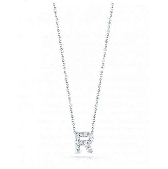 "Diamond Love Letter ""R"" Necklace, , Necklace, Roberto Coin, D'Amore Jewelers"