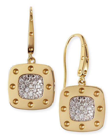 18k Yellow Gold Pois Moi Drop Earrings with Diamonds, , Earring, Roberto Coin, D'Amore Jewelers