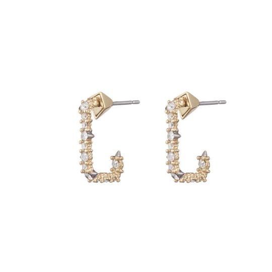 Crystal Encrusted Mini Link Huggie Earring