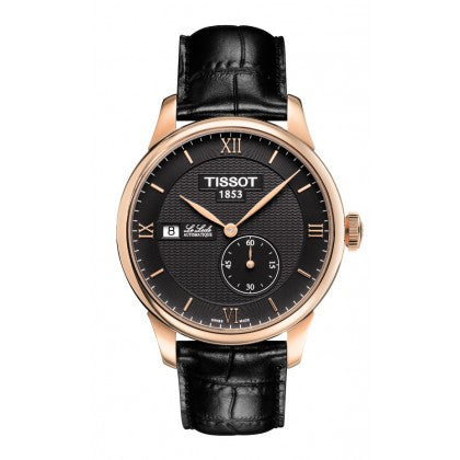 Tissot Le Locle Small Second Men's Automatic Rose Gold PVD Case Black Dial Watch with Black Leather Strap