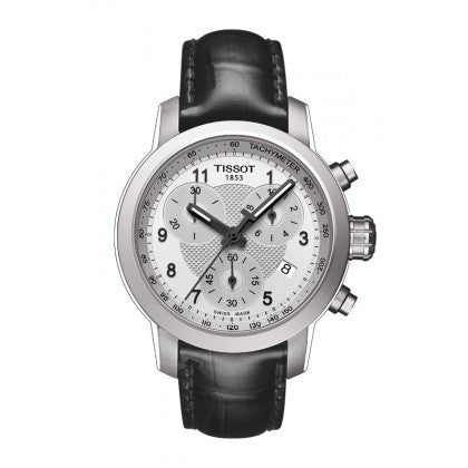PRC 200 Women's Quartz Chrono Watch - Silver Dial With Black Leather Strap - Tissot -  Watches - Ora by D'Amore Jewelers