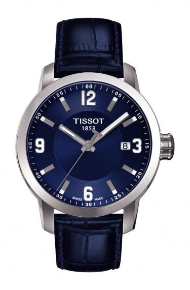 TISSOT PRC 200 MEN'S QUARTZ BLUE DIAL WATCH WITH BLUE LEATHER STRAP - Tissot -  Watches - Ora by D'Amore Jewelers