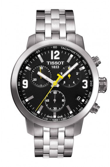 TISSOT PRC 200 MEN'S QUARTZ CHRONO BLACK DIAL WATCH WITH STAINLESS STEEL BRACELET - Tissot -  Watches - Ora by D'Amore Jewelers
