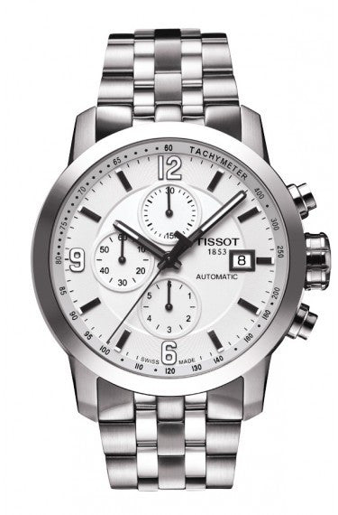 TISSOT PRC 200 MEN'S AUTOMATIC CHRONO WHITE DIAL WATCH WITH STAINLESS STEEL BRACELET - Tissot -  Watches - Ora by D'Amore Jewelers