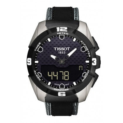 Tissot T-Touch Expert Solar Men's Quartz Chronograph Black Dial Watch with Black and Grey Leather Strap - Tissot -  Watches - Ora by D'Amore Jewelers - 1