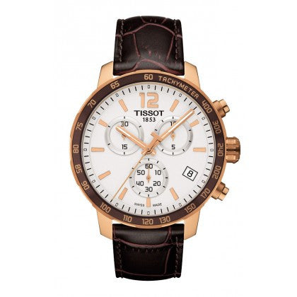 Tissot Quickster Men's Quartz Chronograph Silver Dial Watch with Brown Leather Strap - Tissot -  Watches - Ora by D'Amore Jewelers