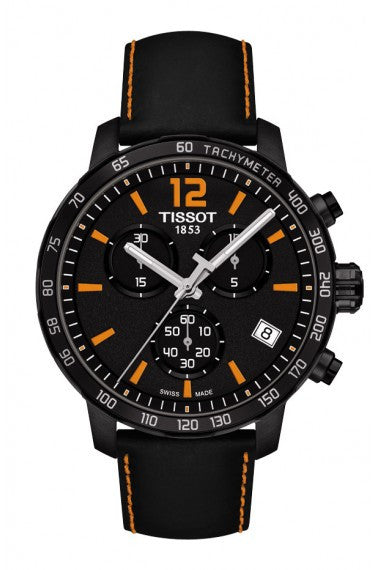 TISSOT QUICKSTER MEN'S QUARTZ CHRONOGRAPH BLACK AND ORANGE DIAL WATCH WITH BLACK LEATHER STRAP - Tissot -  Watches - Ora by D'Amore Jewelers
