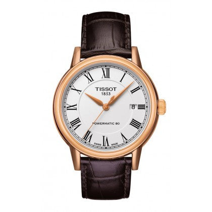 Carson Men's Automatic Gold PVD Classic Watch - White Roman Dial and Brown Leather Strap, Watches, Tissot - Ora by D'Amore Jewelers