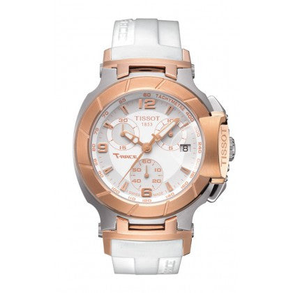 T-Race Women's Quartz Chronograph - Rose Gold PVD & White Rubber Strap - Tissot -  Watches - Ora by D'Amore Jewelers