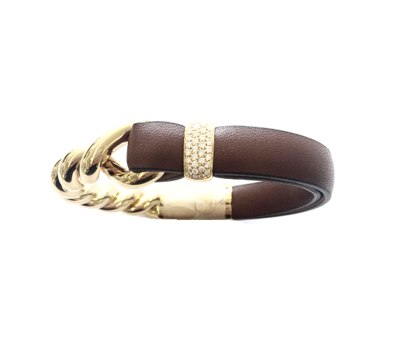 Brown Leather Twisted Gold Bracelet, Bracelet, Oromalia - Ora by D'Amore Jewelers