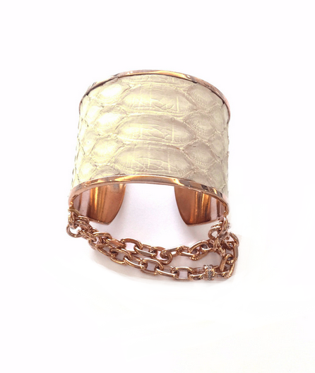 natalie cuff white python with rose gold