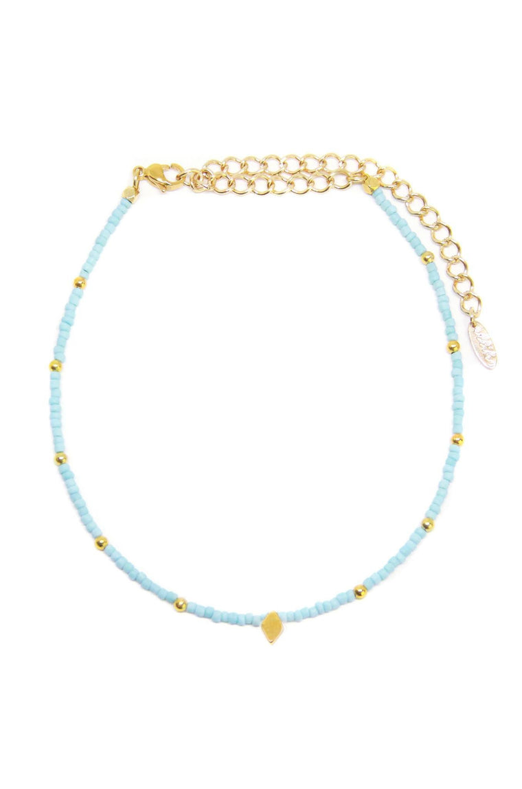 CAMP COLLECTION DIAMOND CHOKER IN LIGHT BLUE AND GOLD