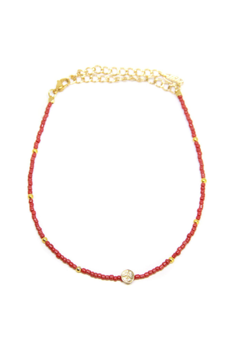 CAMP COLLECTION PEACE CHOKER IN RED AND GOLD