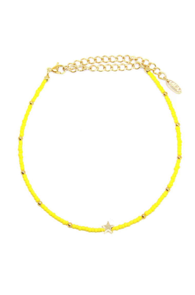 CAMP COLLECTION STAR CHOKER IN YELLOW AND GOLD