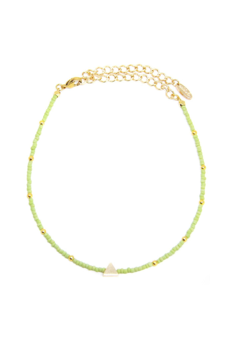 CAMP COLLECTION TRIANGLE CHOKER IN GREEN AND GOLD