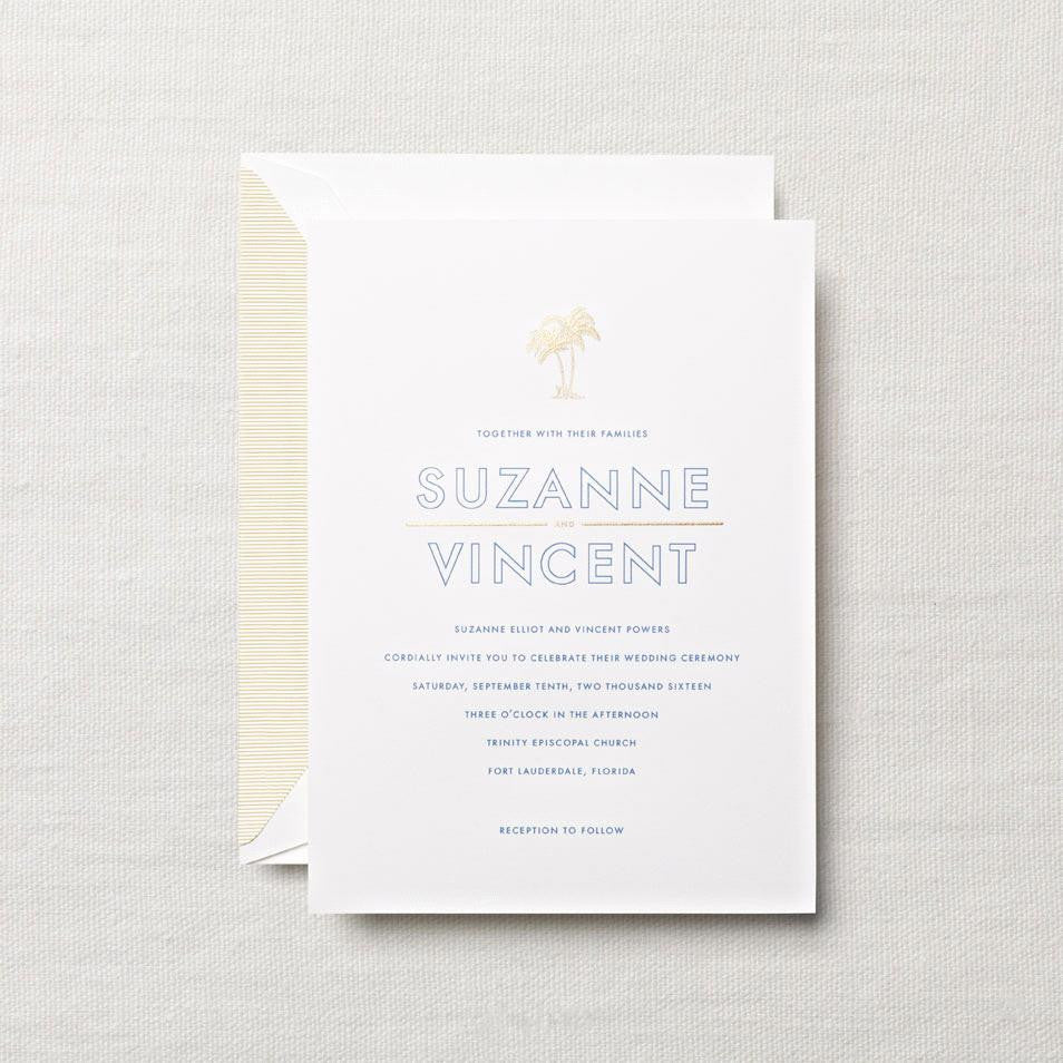 Pearl White Embassy Tropical Themed Wedding Invitation – ORA Boutique