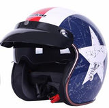 Motorcycle Helmet 3/4 Open Face Vintage DOT approved