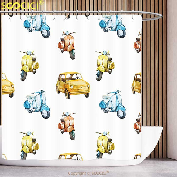 Scooter Shower Curtain Vintage