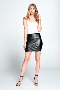 Black Faux Leather High Waist Mini Skirt