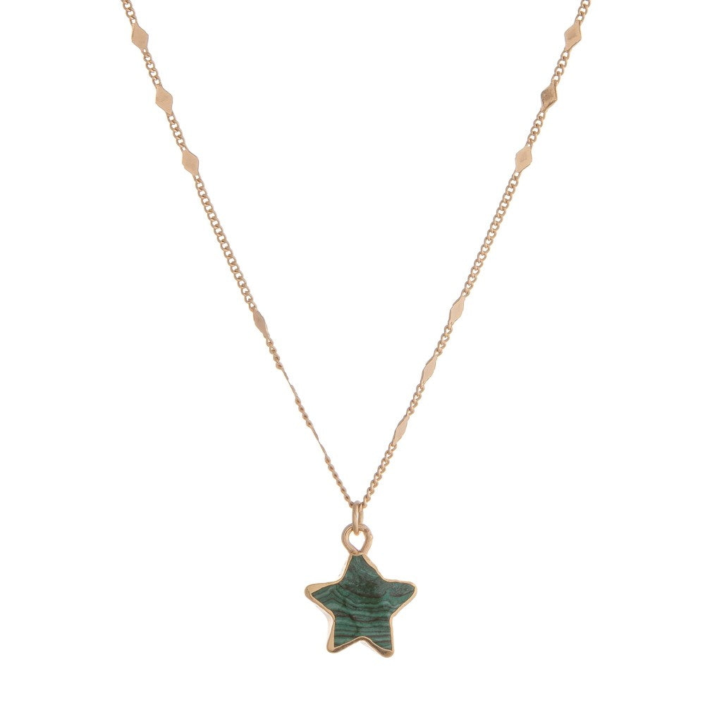 Semi Precious Star Pendant Necklace
