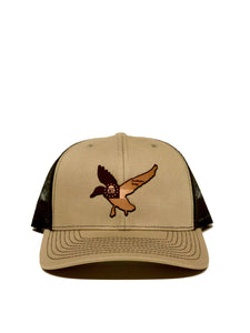 Georgia Flag Freedom Duck Leather Patch Trucker Hat Tan/Brown