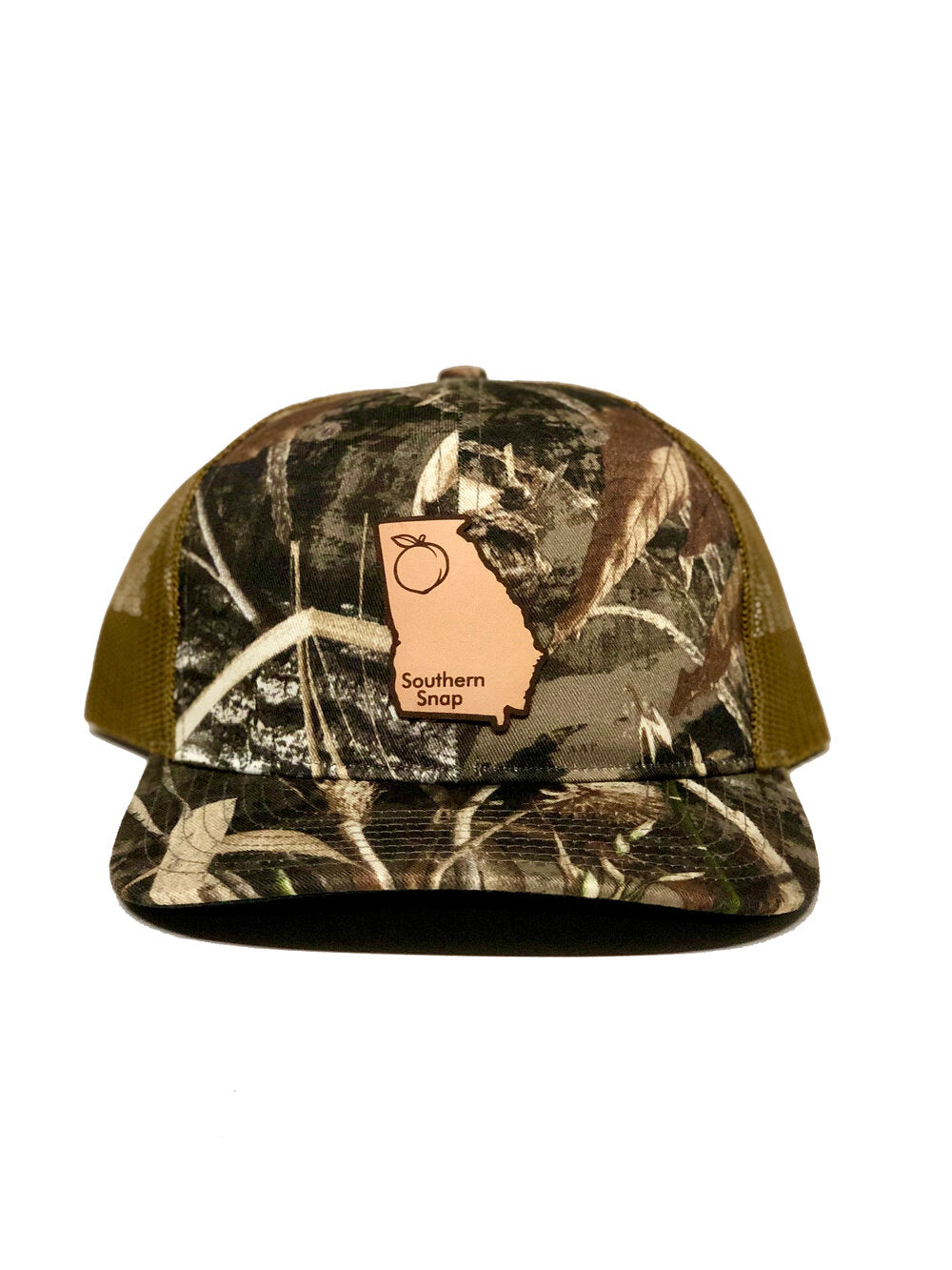 Georgia Leather Patch Trucker Hat Camo