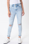 High Rise Folded Ankle Skinny
