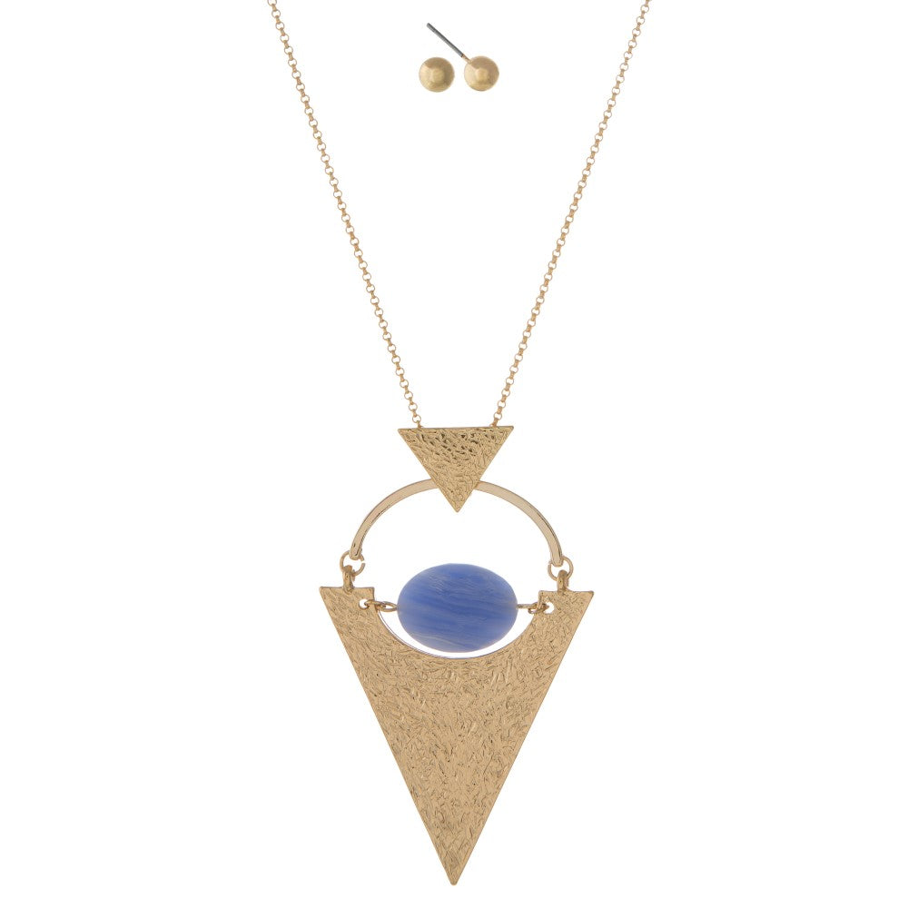 Light Blue Triangle Necklace