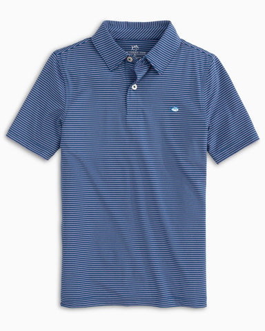 Boy's Southern Tide Driver's Heather Striped Performance Polo