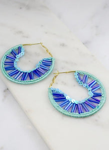 Brogren Thread Embellished Hoop Earring Blue