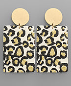 Disk & Glitter Leopard Genuine Leather Earrings