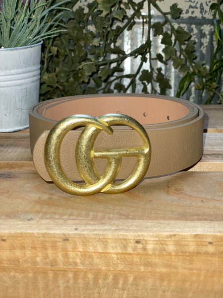 Thick Taupe Designer Belt