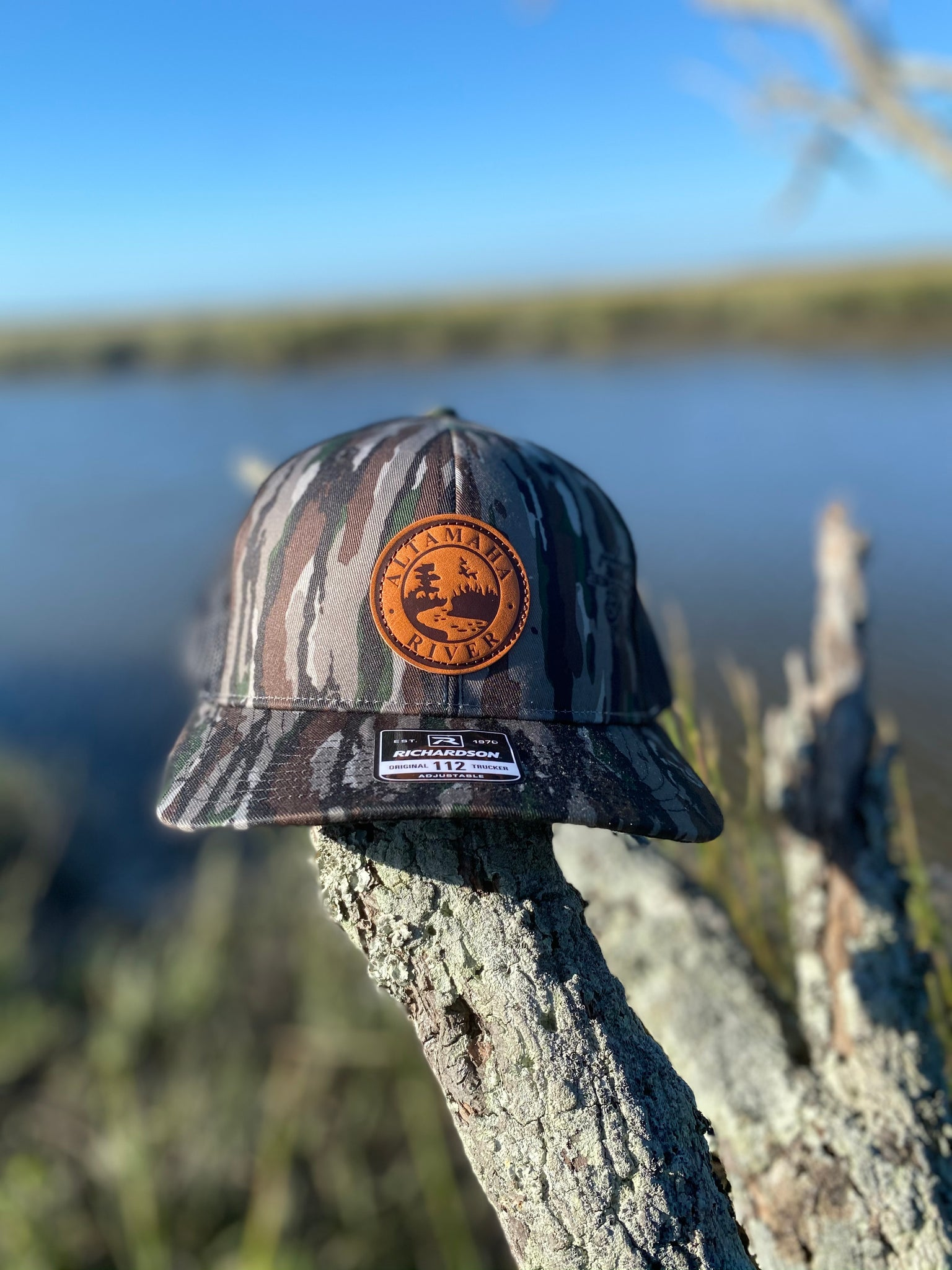 Altamaha River Company Realtree OG Leather Patch Snapback