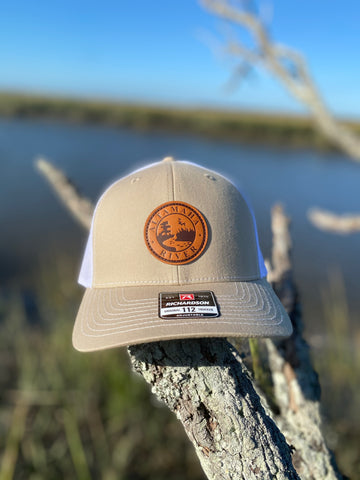 Altamaha River Company Khaki/White Leather Patch Snapback