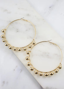 Richter Hoop Earring With Ball Accents Gold