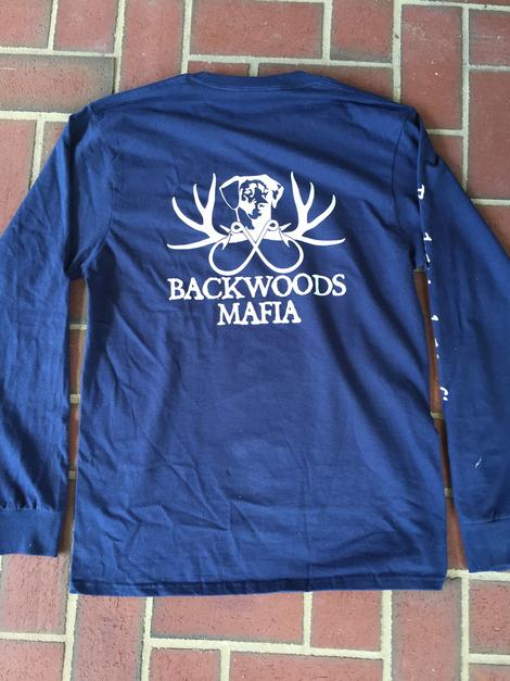 Backwoods Mafia Original Logo Navy LS Tee
