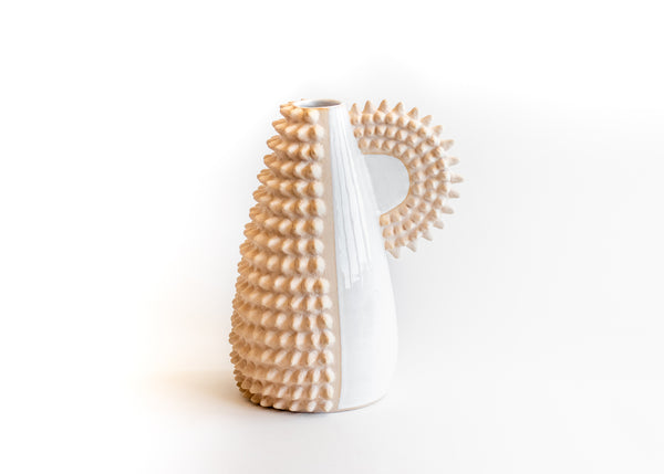 Cream Spiky Vase with handle