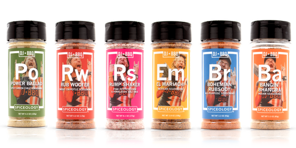 DJ BBQ RUBS 6 PACK GIFT SET, THE COMPLETE SET OF MIXES & BELNDS UNER ONE ROOF
