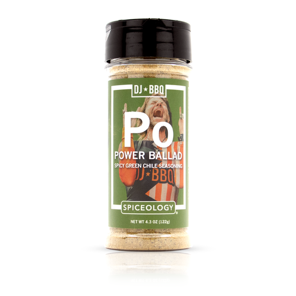 DJ BBQ Power Ballad Barbecue Rub, Spicy Green Chile Burger Shake & Seasoning Mix