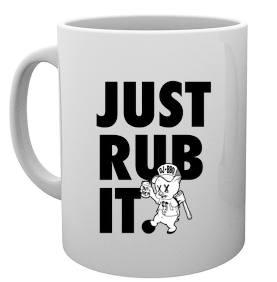 DJ BBQ JUST RUB IT LOGO COFFEE AND TEA MUG