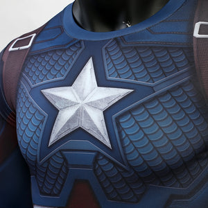 Avengers: Endgame Captain America Workout Compression Shirt - Long Sleeve