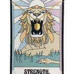 Tarot Card Necklace, Strength - Lion- Gold