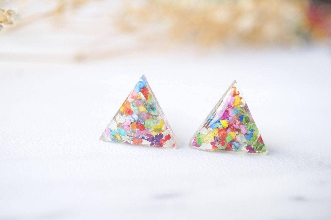Triangle Real Dried Flowers and Resin Stud Earrings
