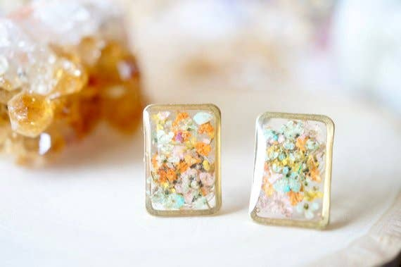 Gold Rectangle Resin Stud Earrings in Orange, Yellow & Pink Mint