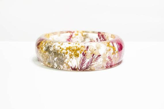 Red Pine and Gold Real Flower Bracelet