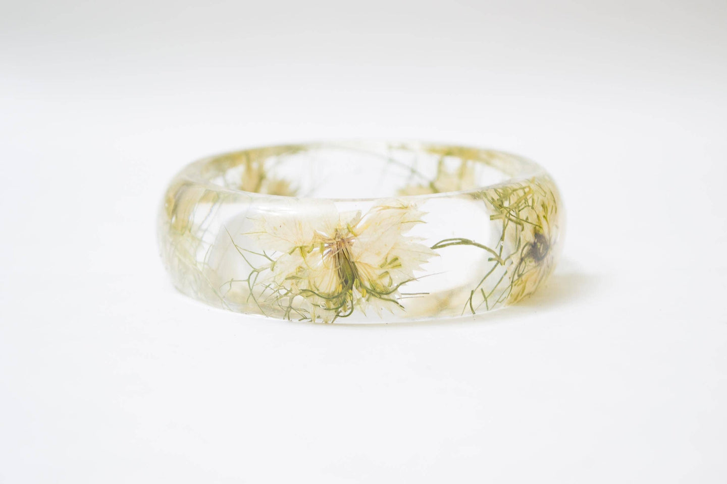 Real flower bangle, resin bangle, nature jewelry, earthy