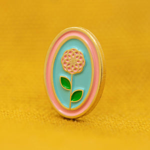 Mini Flower Oval Enamel Pin