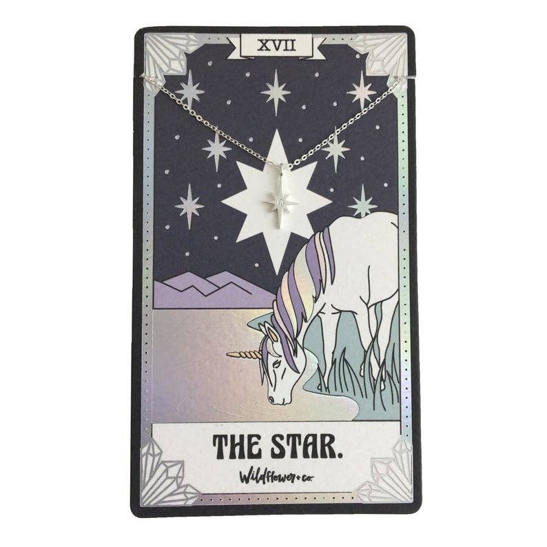 Tarot Card Necklace, The Star - Sterling Silver