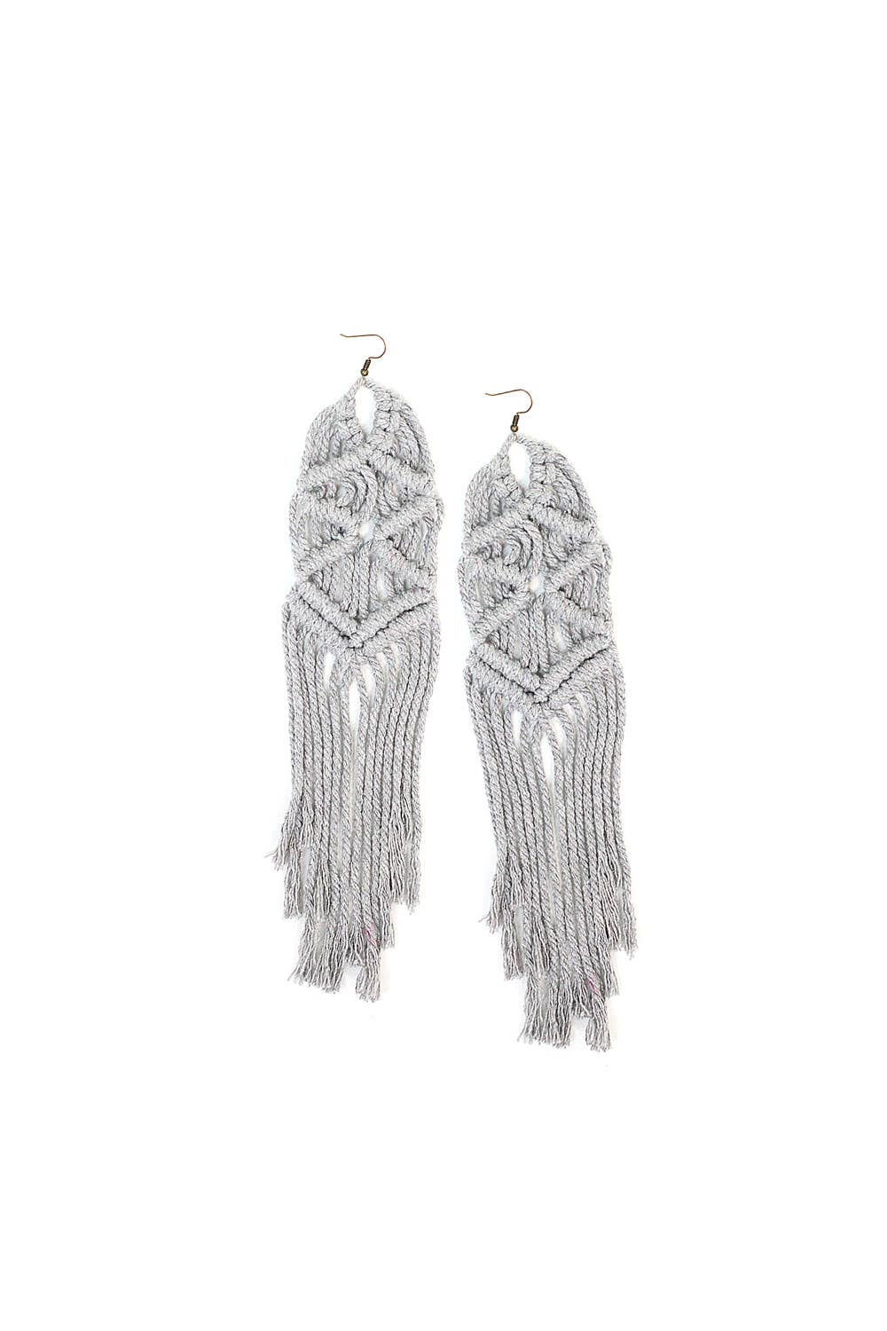 Gray Oversized Macrame Earrings