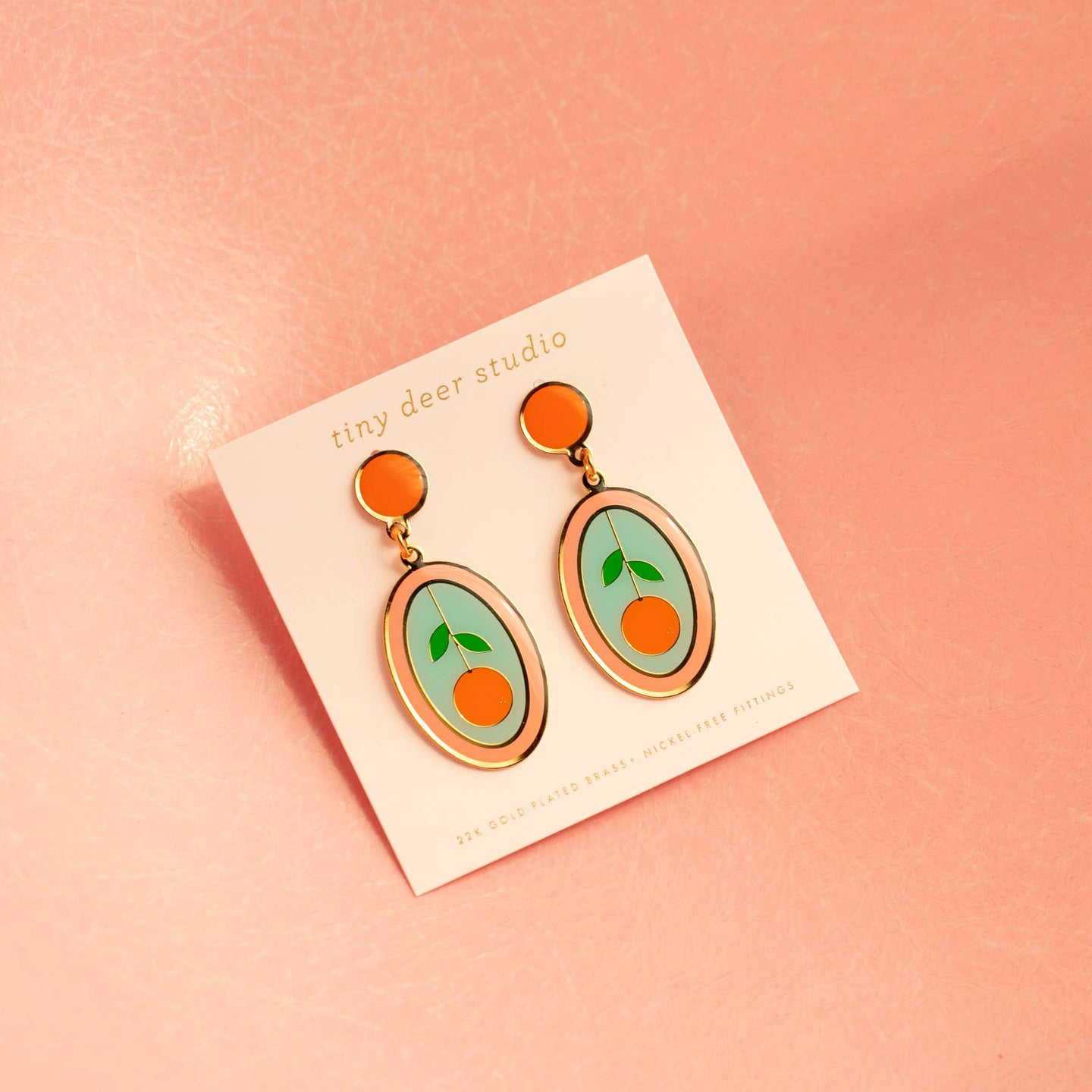 Strawberry and Orange Oval Earrings
